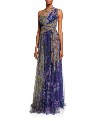 a88e2ac724c Colorblock Floral-Print One-Shoulder Tulle Dress w/ Back Cutout Quick Look. Marchesa  Notte