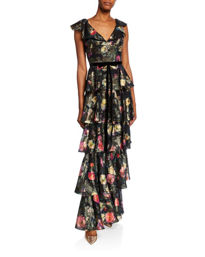 2804e53959ab Metallic Printed V-Neck Sleeveless Tiered Fil Coupe Ruffle Gown Quick Look. Marchesa  Notte