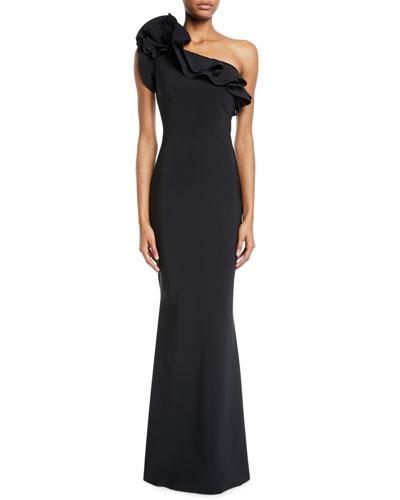 7fe1b3385f3 Elisir One-Shoulder Ruffle Gown Quick Look. Chiara Boni La Petite Robe