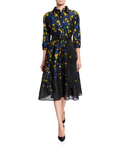 f929de68cb65 Floral Jacquard 3/4-Sleeve Organza Shirtdress Quick Look. Rickie Freeman  for Teri Jon