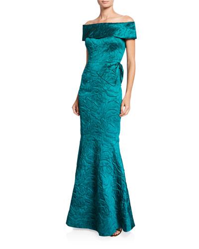 Off-the-Shoulder Jacquard Trumpet Gown