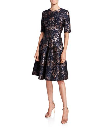 Metallic Floral Jacquard Elbow-Sleeve A-Line Dress