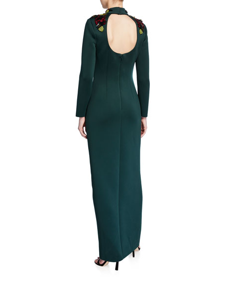 Embellished Mock-Neck Long-Sleeve Cutout-Back Scuba Gown