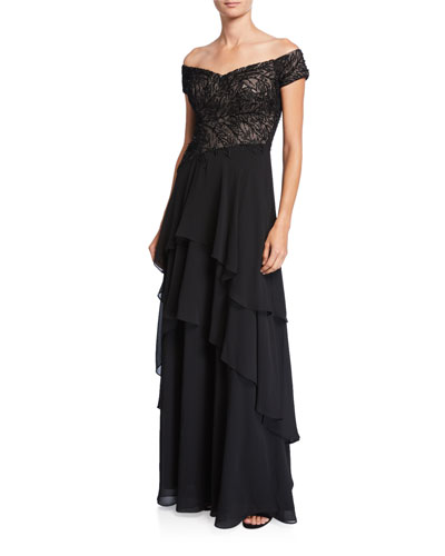 7af7ecb6 Beaded Off-the-Shoulder Tiered Skirt Gown Quick Look. Rickie Freeman for Teri  Jon