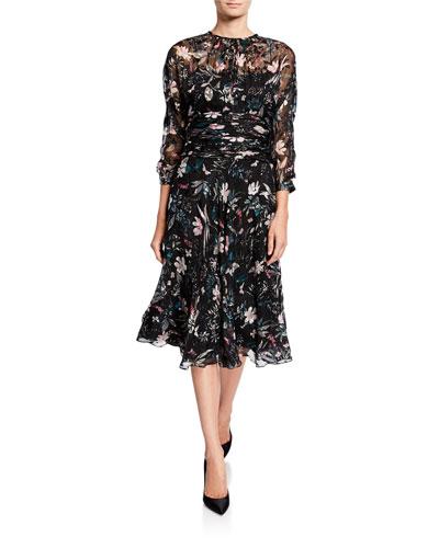 Floral Burnout Shirred-Waist 3/4-Sleeve Dress