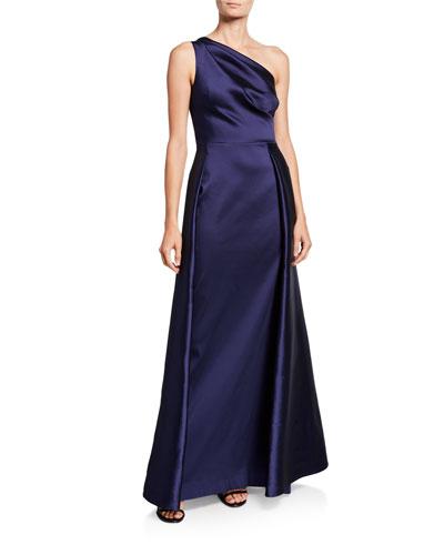 One-Shoulder Asymmetric Gazaar A-Line Gown