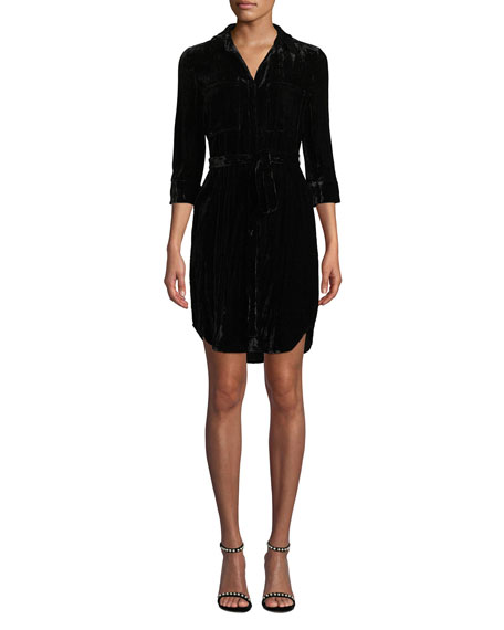 Stella 3/4-Sleeve Crinkle Velvet Shirtdress