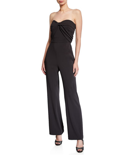 Strapless Bow-Front Crepe Jumpsuit