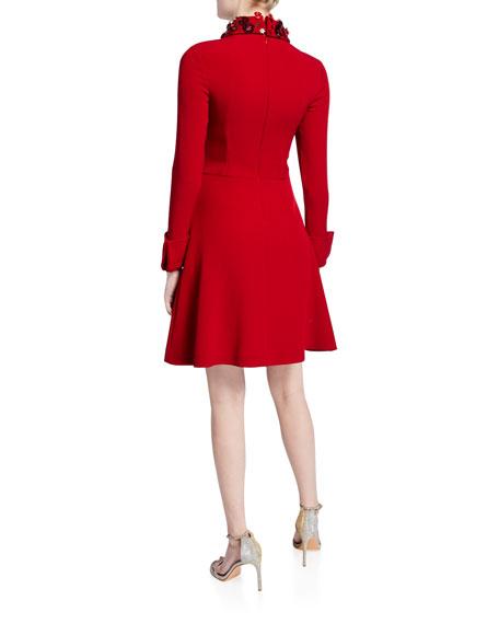 Embellished Collar Long-Sleeve Inverted Pleat Shirtdress