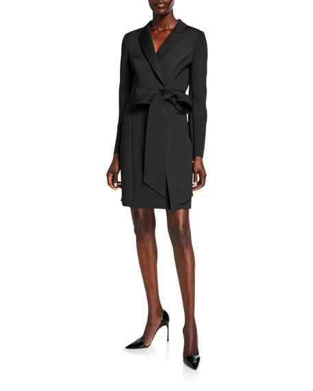 Scuba Bow-Waist Long-Sleeve Coat Dress