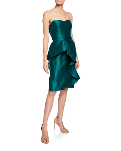 Strapless Sweetheart Sculpted Asymmetric Ruffle Gown
