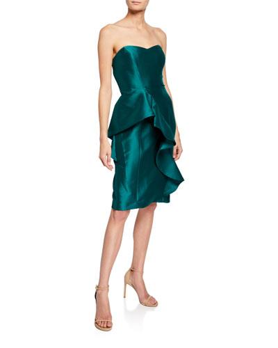 6c8a268e48bb Strapless Sweetheart Sculpted Asymmetric Ruffle Gown
