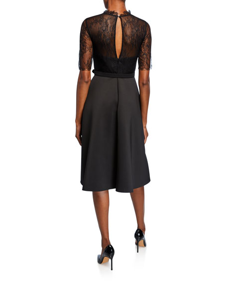 Badgley Mischka Collection Mock Neck Lace Illusion Elbow