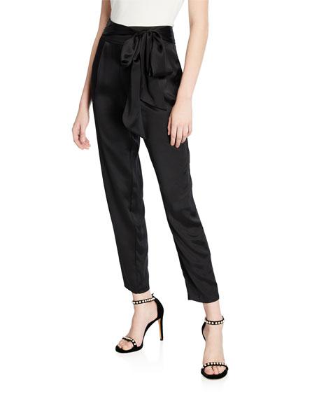 Judson High-Rise Silk Tie-Waist Pants