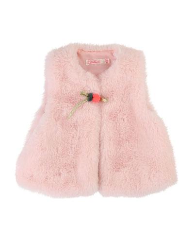 Faux Fur Vest w/ Pompom Detail  Size 12M-3
