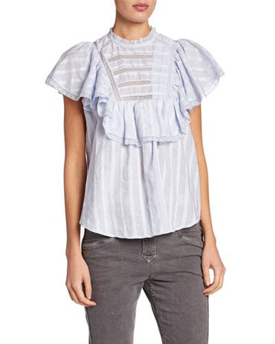 Pleyel Flutter-Sleeve Poplin Cotton