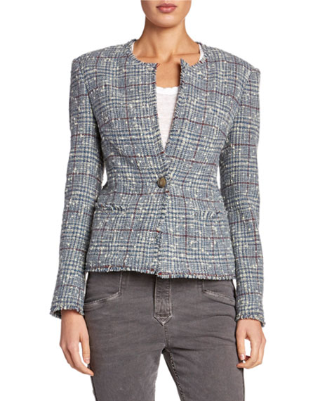 Kamila Collarless Structured Tweed Jacket