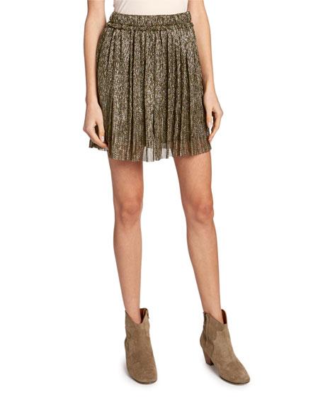 Beatrice Pleated Metallic Short Skirt