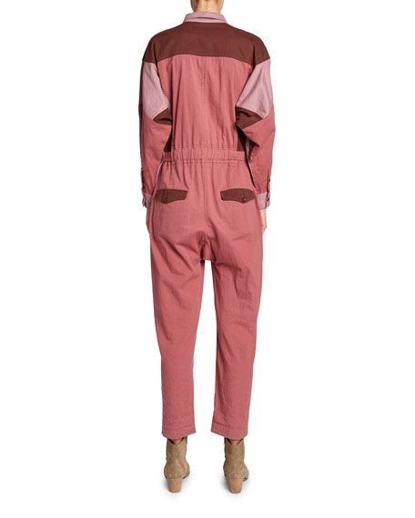 Guan Colorblock Button-Front Jumpsuit