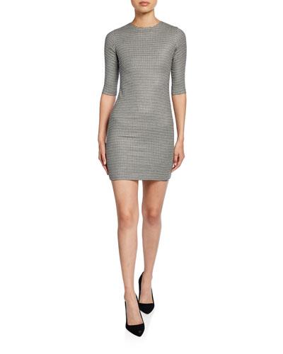 3a7acba6b9b Delora Herringbone Crewneck 1/2-Sleeve Mini Dress Quick Look. Alice + Olivia