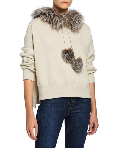 Oscar Fur-Trim Oversized Hoodie