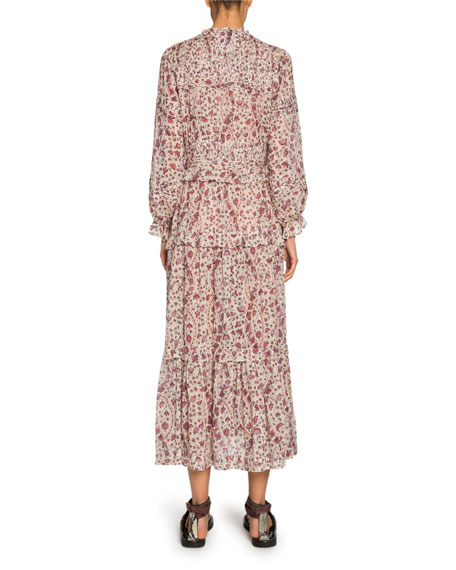 Likoya Tiered Long-Sleeve Maxi Dress