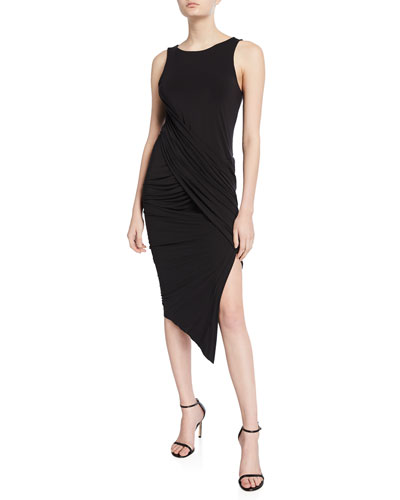 Vickie Draped Sleeveless Cocktail Dress