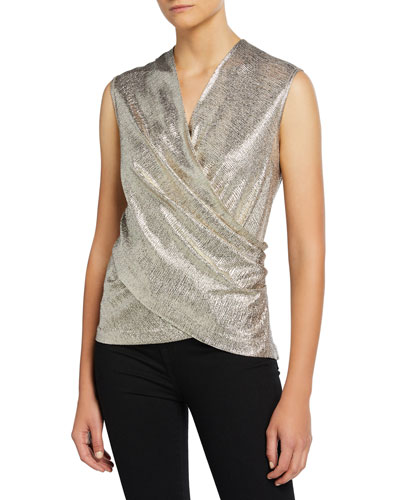 Rumi Metallic Wrap-Front Top