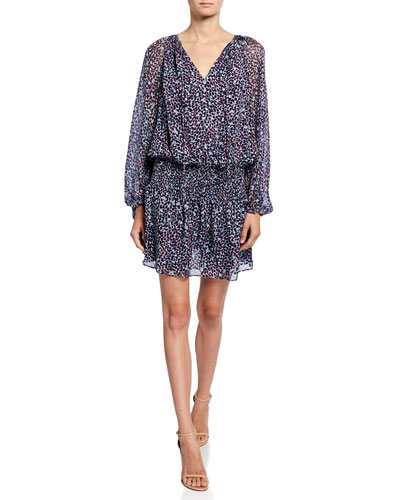 Beckam Printed V-Neck Long-Sleeve Mini Blouson Dress