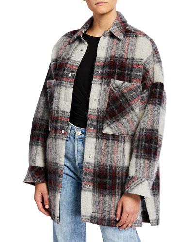 Minsky Wool Snap-Front Plaid Jacket