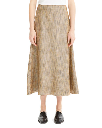Volume Viscose-Linen Midi Skirt