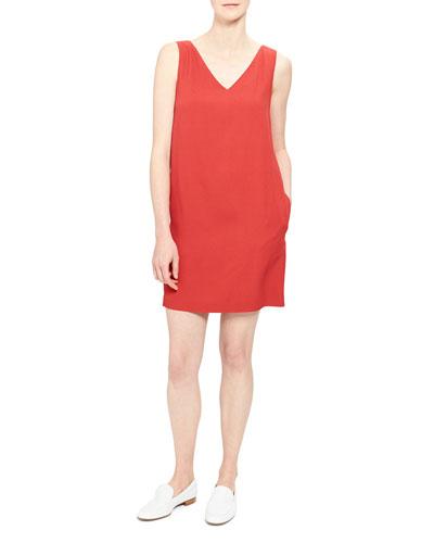 V-Neck Sleeveless Mini Shift Dress