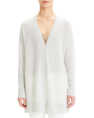 V-Neck Button-Front Dolman Cashmere Cardigan