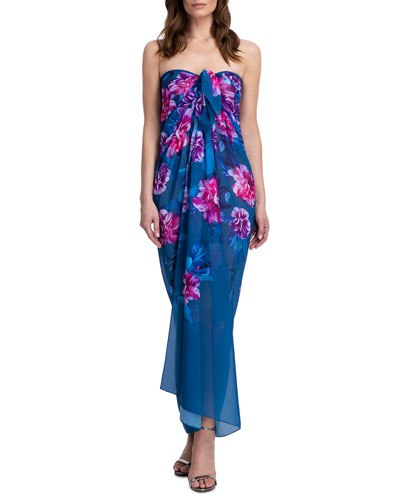 Fiji Floral-Print Pareo Coverup