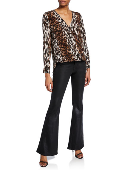 Kyla Long-Sleeve Draped Animal-Print Blouse