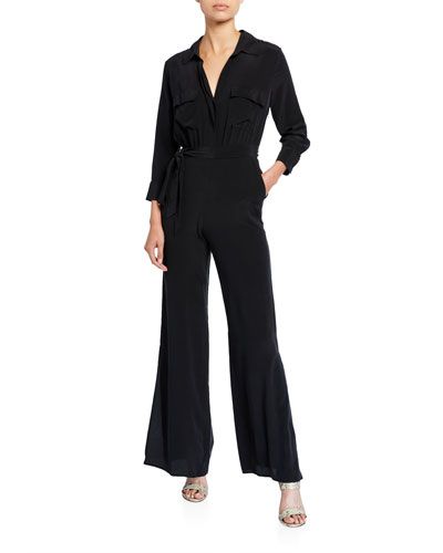 Teddy Collared Silk Jumpsuit
