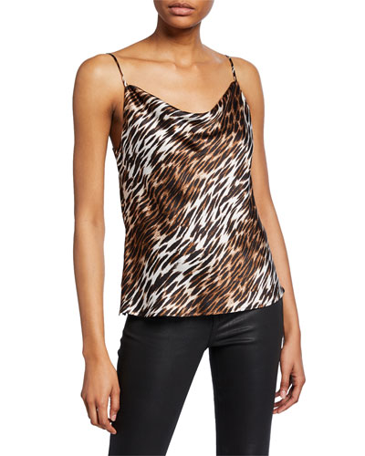 Kay Cowl-Neck Animal-Print Tank