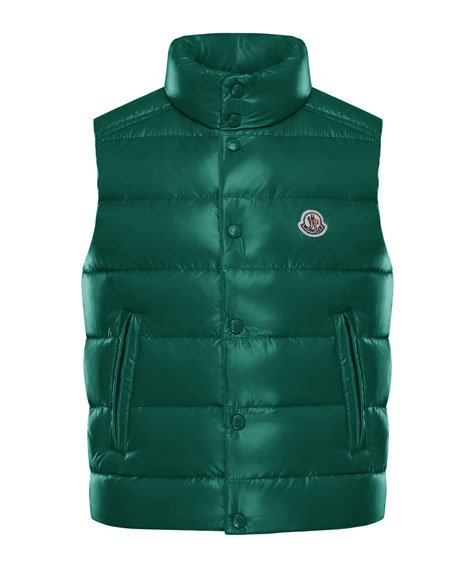 Quilted Nylon Snap-Front Puffer Vest, Size 8-14