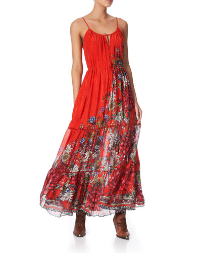 Printed Maxi Dress with Front Tie Detail