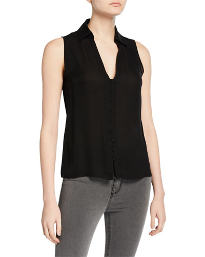 Tanya Collared Button-Front Blouse