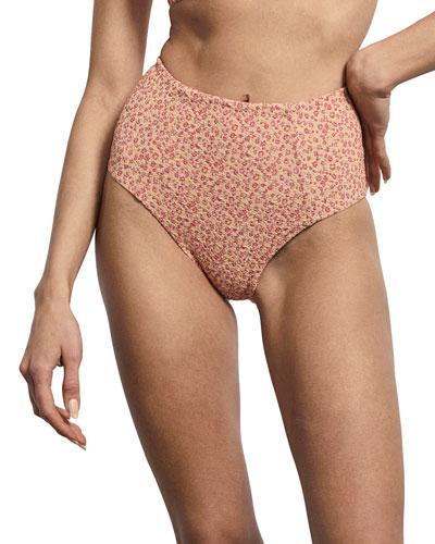 Jolie High-Waist Floral Jacquard Bikini Bottom
