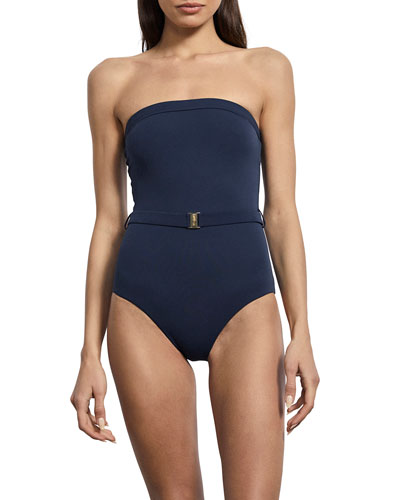 Nathalie Belted Strapless Maillot One-Piece Swimsuit