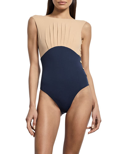 Ophelia Boat-Neck Maillot One-Piece Swimsuit