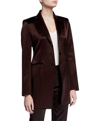 Jaqueline Reverie Satin Cloth Three-Button Blazer