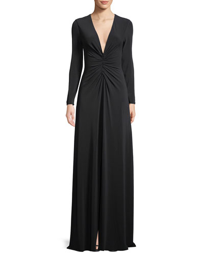 aea1e93df227 Ruched V-Neck Long-Sleeve Gown Quick Look. Halston Heritage