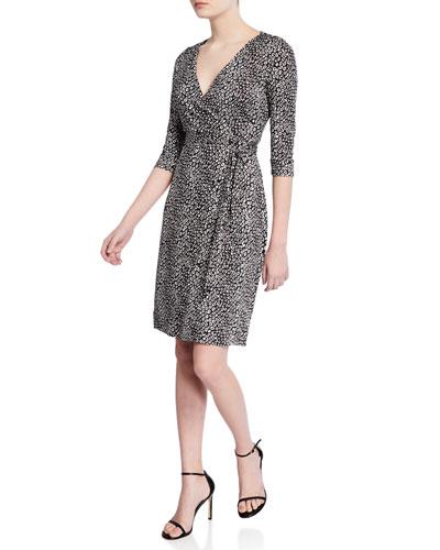 Julian Two Python-Print 3/4-Sleeve Wrap Dress