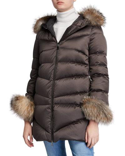 Cantis Fur-Cuff Puffer Coat w/ Fur-Trim Hood