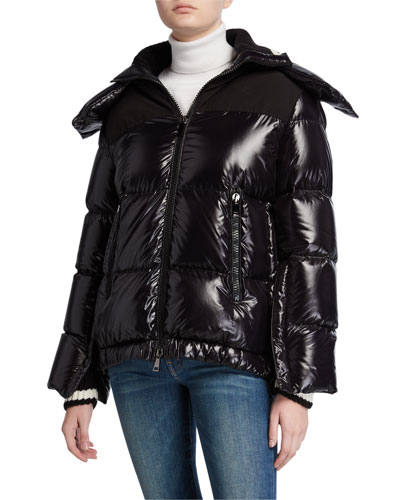 Wouri Box-Quilt Puffer Coat w/ Hood