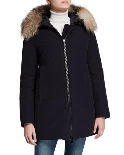 Blavet Fur-Trim Hooded Coat