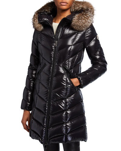 Fulmarus Fur-Trim Hood Chevron Puffer Coat